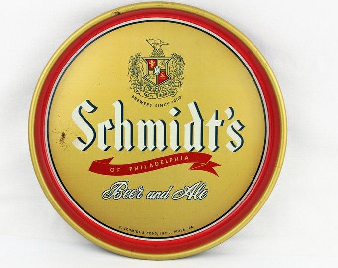 Vintage Breweriana, Schmidt's Beer and Ale, Metal Serving Tray, Vintage  Barware,  Beer Advertisement, 1970s