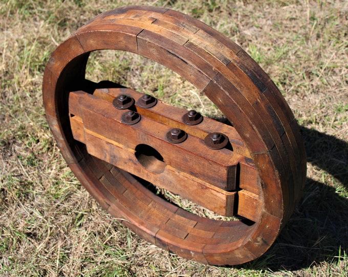 """Antique 26"""" Wood Split Pulley Wheel, Flat Belt Pulley"""