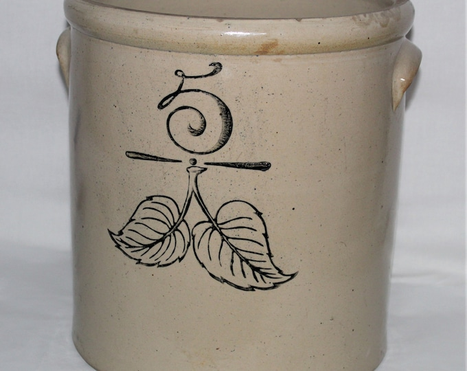 Antique Crock, 1890s  Union Stoneware Company, Five Gallon Crock, Elephant Ear Design