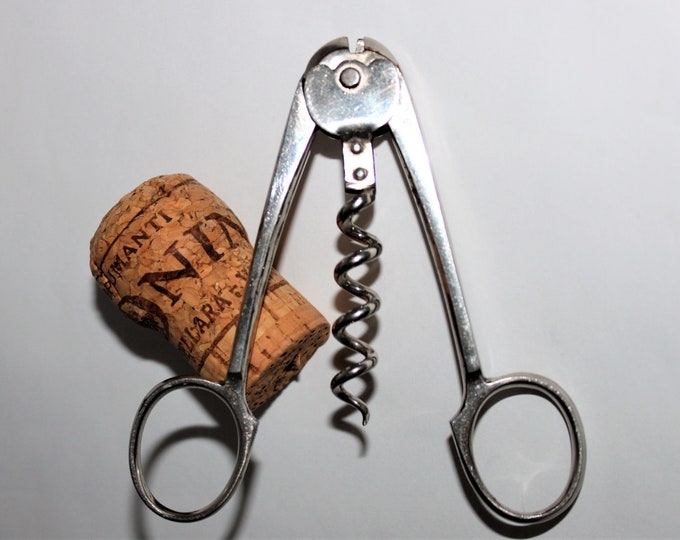 1893 German Scissor Style Champagne Nippers with Corkscrew