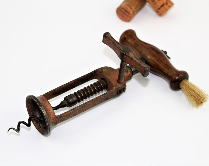 Antique Corkscrew, 1850s English Rack & Pinion design corkscrew, Wine Opener
