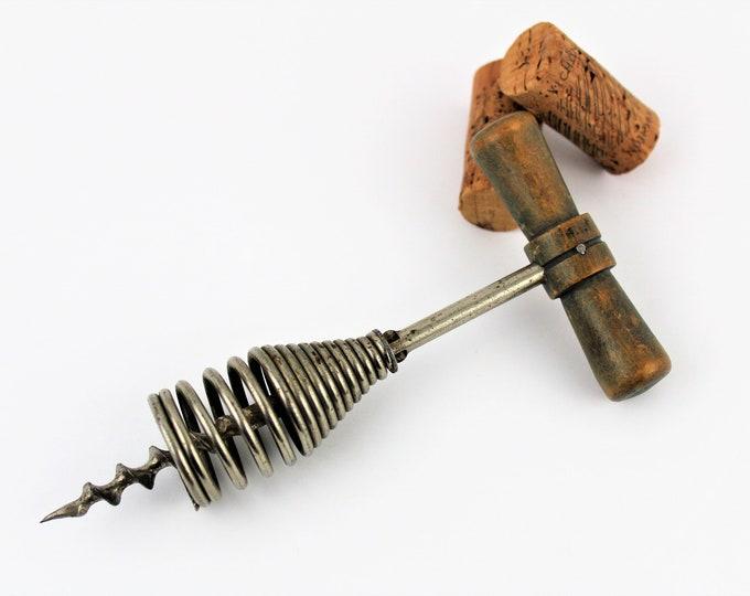 Antique Corkscrew, French Corkscrew, Spring Barrel Corkscrew, Wine Opener
