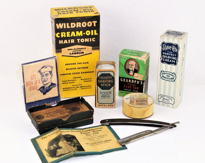 Antique Barber / Lot of Eight Barber and Shaving Collectibles /  Barber Collectibles / Barber Shop Decor
