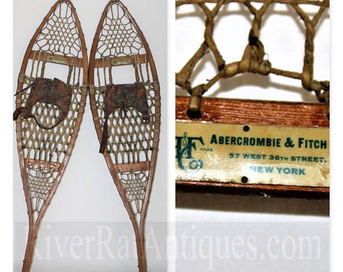 1930s Abercrombie & Fitch Antique Pair of  Wood Snowshoes 9x36