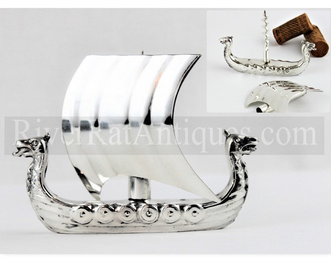 Vintage Viking Two Headed Serpent Sailing Ship Corkscrew, OSP 40 Silver-Plated, Wine Opener
