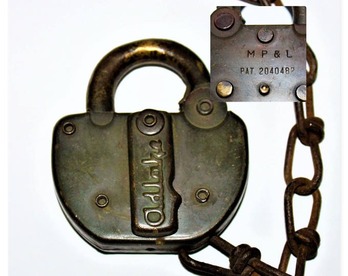 1960s Adlake All Brass Padlock marked MP & L, Minneapolis Power and Light Co, Railroad Memorabilia