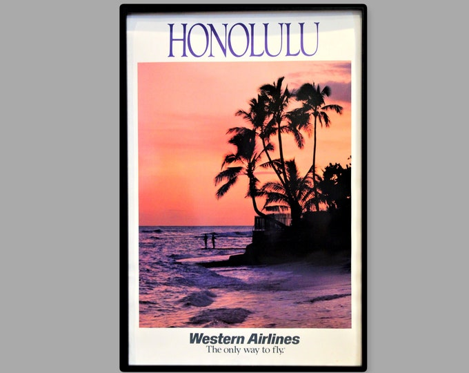 1970s Western Airlines Travel Poster Featuring Honolulu Beach, Unframed