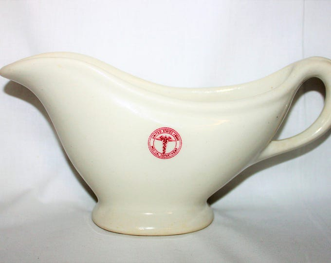 Vintage Gravy Boat / Tempco Pottery / United States Army Medical Department