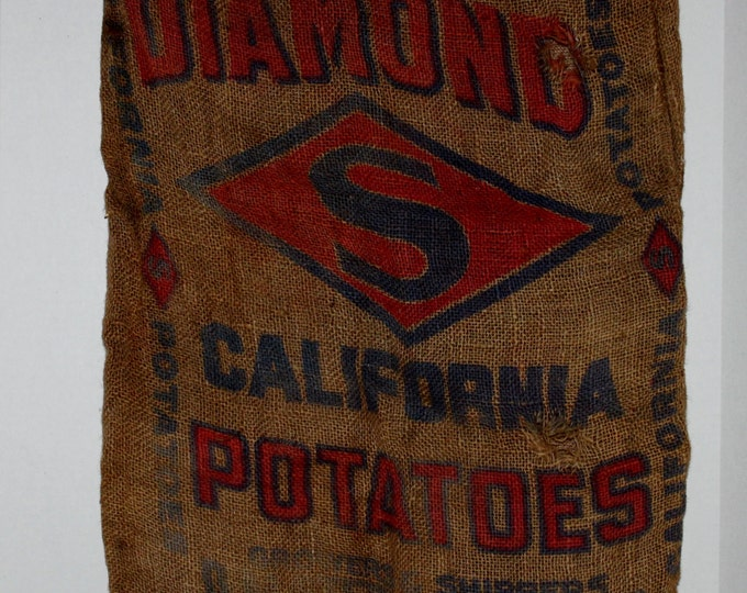 Vintage Burlap Sack / Diamond S California Potato Bag / Farm Ware / Antique Farm Decor