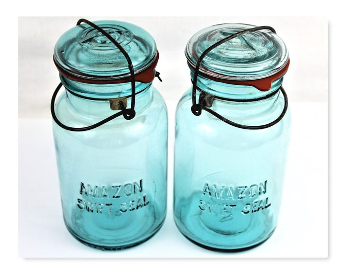 Antique Canning Jars / Amazon Swift Seal / Blue Glass Jar / Blue Canning Jar/ Kitchen Decor
