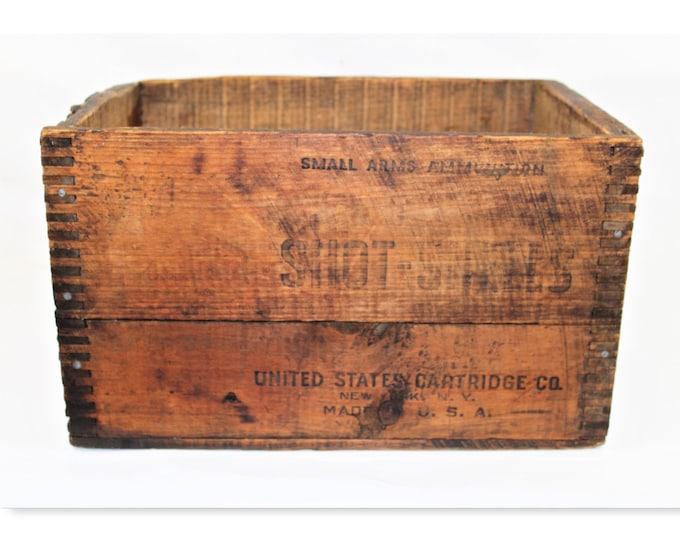Antique Crate, Ammunitions Wood Box, United States, Cartridge Company, Rustic Wood Crate