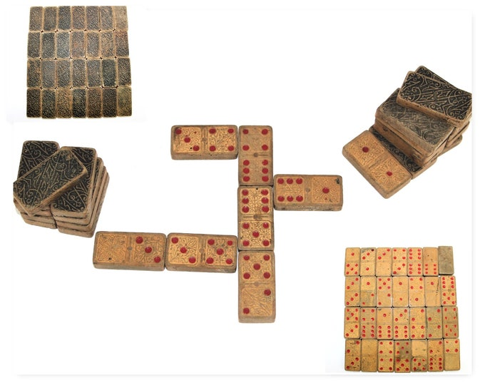 Antique Board Game / Set of Wood Dominoes / Full Set 28 Pieces