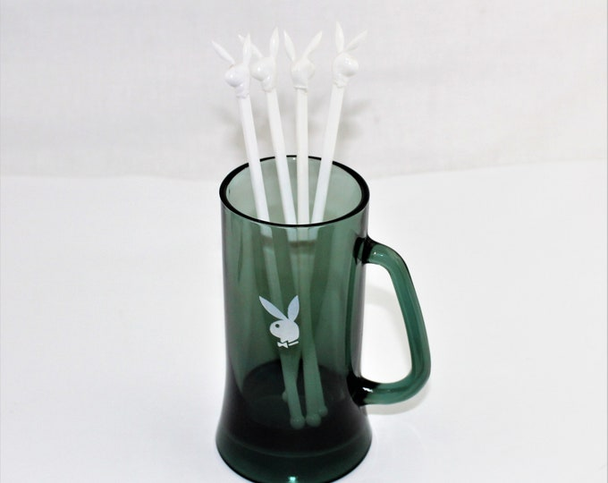Vintage Barware / PLAYBOY Bunny Beer Mug & Stir Sticks / Smoked Glass Mug