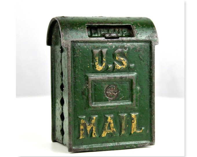 Antique Cast Iron Penny Bank, US Mail, Penny Bank, Arcade Toys, Piggy Bank