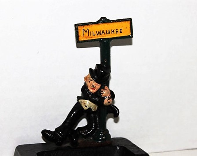Vintage Barware, Wilton Cast Iron, Ashtray and Bottle Opener, Lampost Man & Milwaukee Street Sign, 1940s