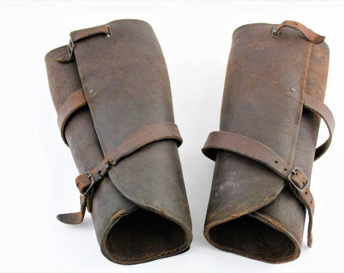 WWI Cavalry Leather Leggings, Gaiters