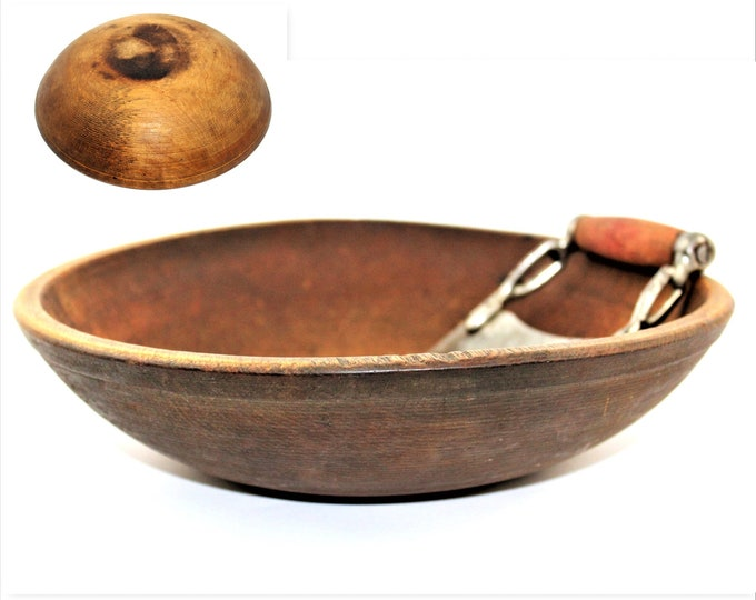 Antique Wood Bowl / Wood Dough Bowl / Solid Maple / Rural Living