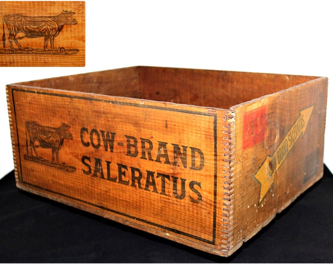 Antique 1890s Cow Brand Saleratus Wood Shipping Crate, Wood Crate