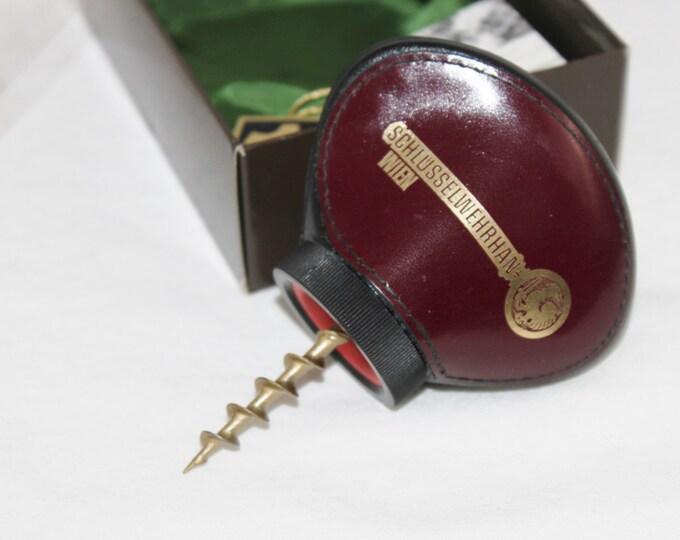 Vintage German Leather Full Grip Corkscrew, Schlusselwehrhan Wien, Wine Opener,  Barware
