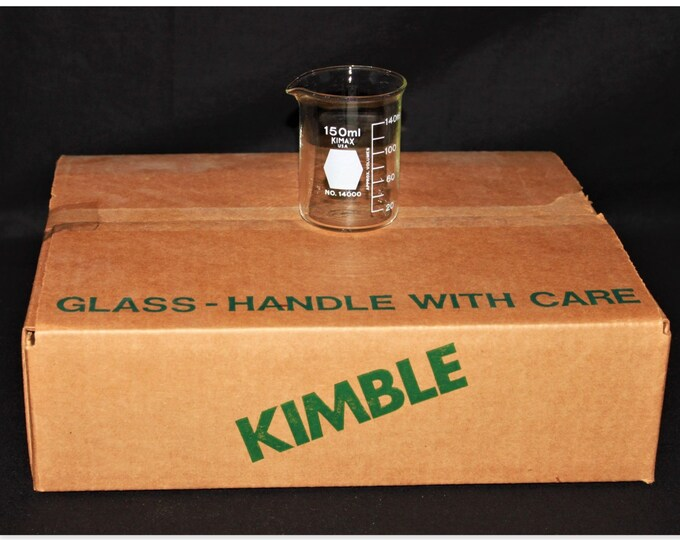 Full Case of Twelve, 150 ml Kimax Beakers IOB  P/N 14000.