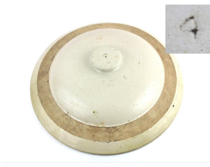Antique Crock / Crock Lid / Four Gallon Crock Lid / Farmhouse Pottery