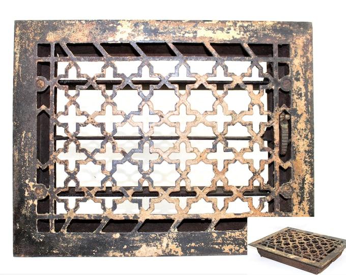 1920s Iron Floor Grate with Damper, Art Deco Design