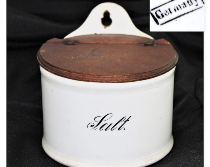 German 1890s Salt Box with Hinged Wooden Lid, Salt Crock, Salt Pig, Salt Cellar