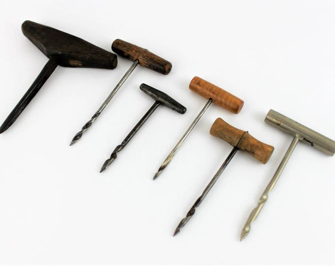 Collection of Six Antique Gimlets, Hole Bore, Primitive Hand Tools
