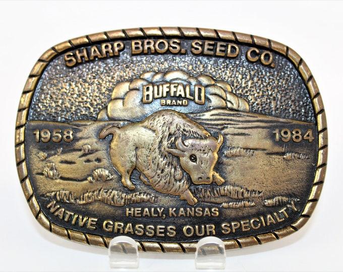 Vintage Buffalo Brand Seed, Western Style Belt Buckle, Retro Belt Buckle