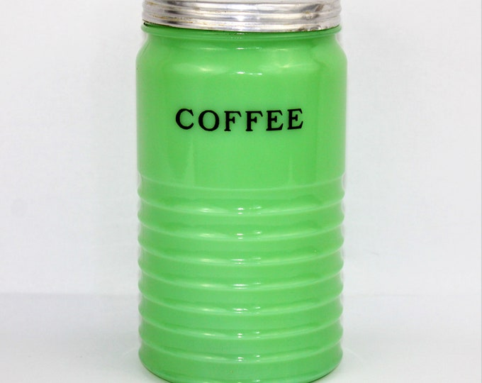 Vintage Kitchen Decor / Jadeite Coffee Canister / Jeannette Glass Co / Vintage Jadeite