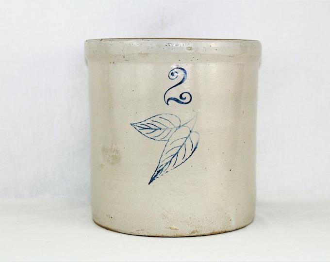 Antique Stoneware Crock / Union Stoneware Company / Two Gallon Crock / Elephant Ear Design