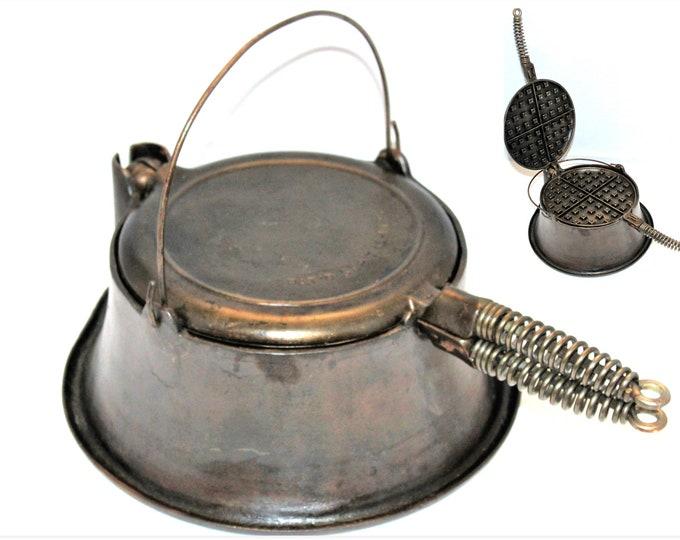 Antique 1925 Waffle Iron, Cast Iron