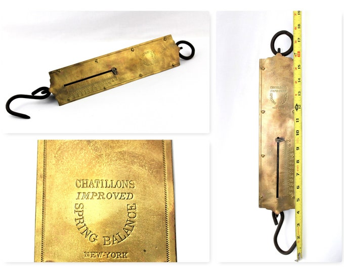 Antique Chatillon 100lbs Brass Hanging Spring Balance Scale
