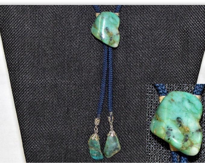 Vintage Turquoise Stone Western Bolo Tie, Western Americana