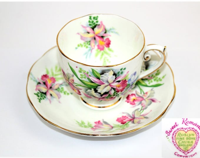 English Tea Cup and Saucer / Roslyn China / Sweet Romance Pattern / Collectible Tea Cup