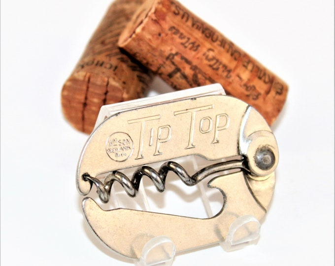 Vintage 1940s Williamson Tip Top Folding Pocket Style Corkscrew & Bottle Opener, Wine Bottle Opener