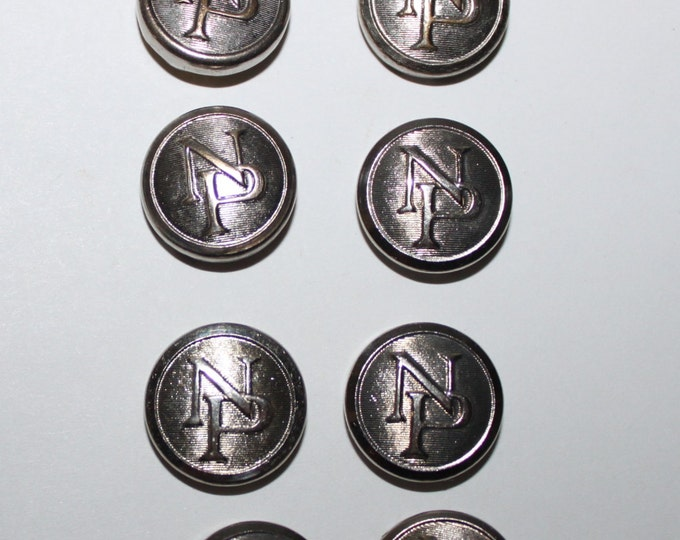 Vintage Railroad Buttons, 8 Northern Pacific Railroad Conductor Button Covers, Uniform Button Covers