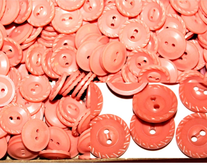"""Vintage 3/4"""" Dusty Pink Buttons, Tea Rose Color, Housedress Buttons"""