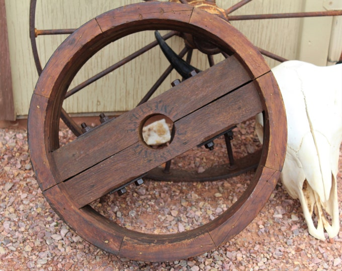 Antique Farm / Wood Split Pulley Wheel / Wide Belt Pulley / Farmhouse Decor / Industrial Decor