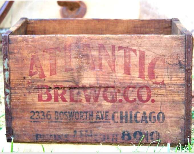 Antique Atlantic Brewing Co Wood Shipping Crate, Breweriana
