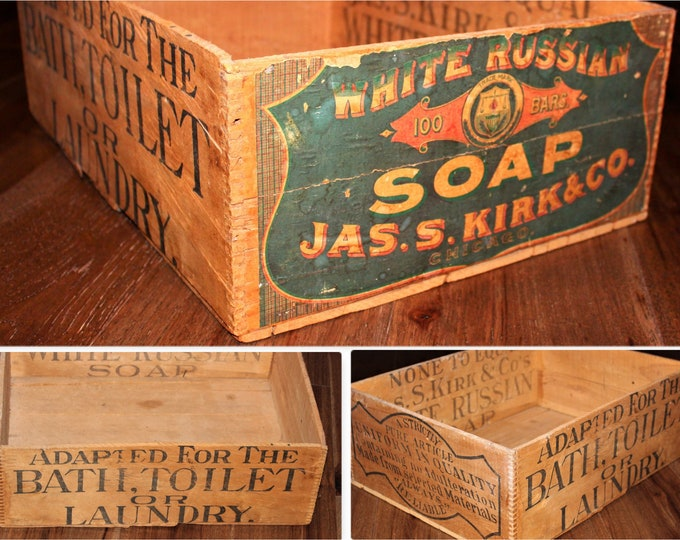 Antique Jas. S. Kirk & Co Chicago White Russian Soap Wooden Crate, Wood Shipping Crate