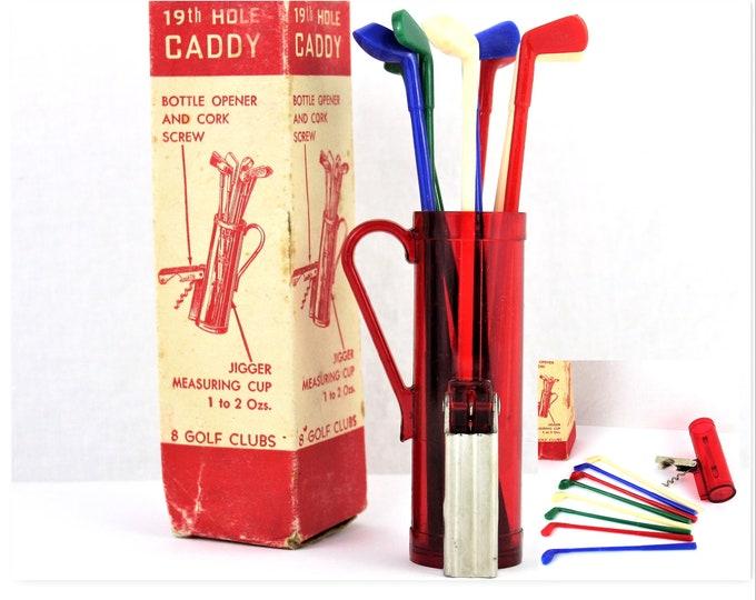 Vintage Corkscrew, 19th Hole Caddy, Barware Caddy, Golf Bag Barware, Wine Opener, Vintage Corkscrew