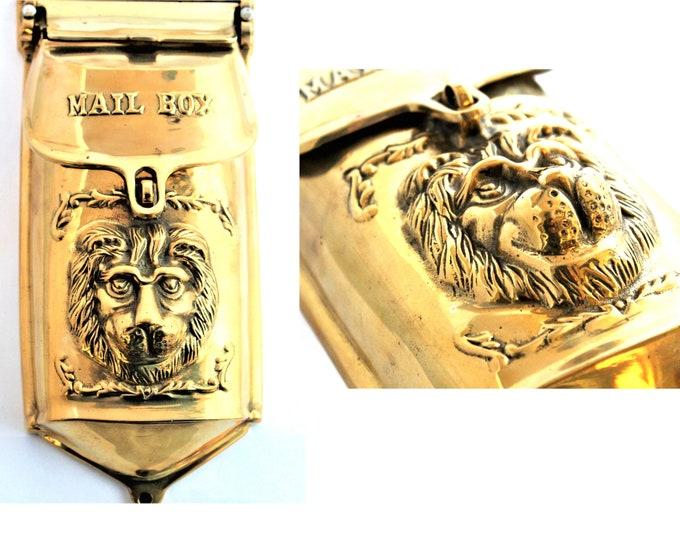 Vintage Lionhead Mailbox, Brass Mailbox