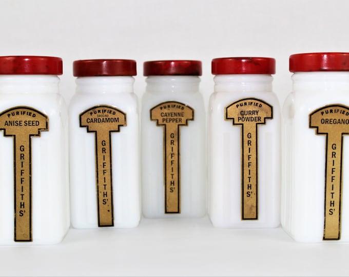 Vintage Milk Glass Jars / Griffith's Spice Jars / Spice Storage
