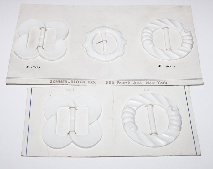 Five Vintage 1960s Style White Art Deco Buckles / Scarf Slides