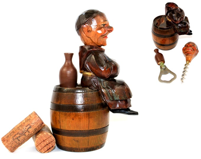 1940s Italian ANRI, Hand Carved Barware Set, The Happy Monk Corkscrew and Bottle Opener