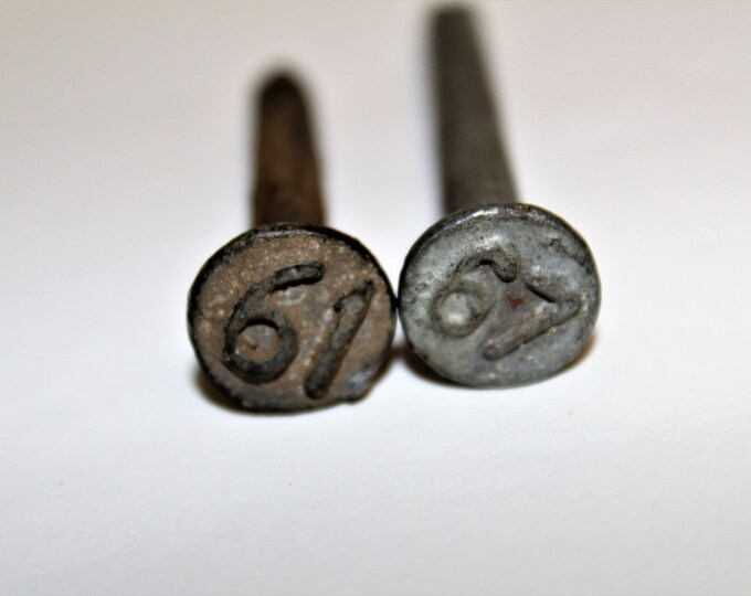 Dated Railroad Nails, 1961 and 1967, Train Tracks, Railroad Memorabilia