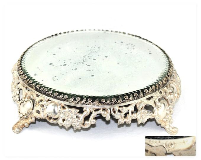 Antique Decor / Pairpoint Plateau / Silver-Plate Mirror Plateau / Victorian Decor