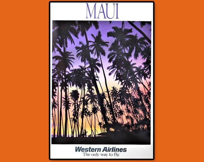 Vintage 1970s Western Airlines Travel Poster Featuring MAUI Sunset, Unframed