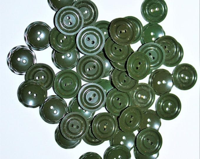"""Vintage 3/4"""" Dark Green Buttons, Housedress Buttons"""